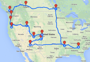 The rough-out of the PNW Tour route.