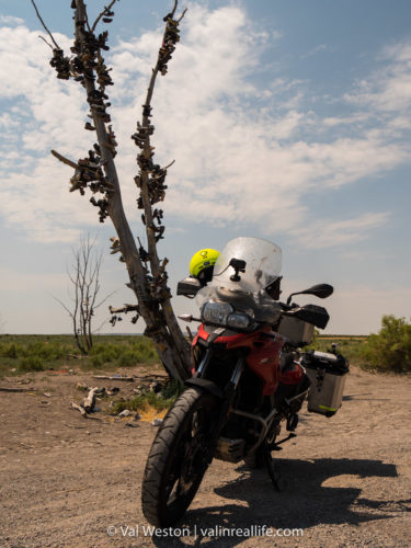 geocaching by motorcycle - val in real life